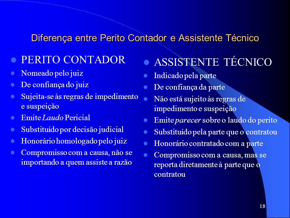 Diferença entre Perito Contador e Assistente Técnico