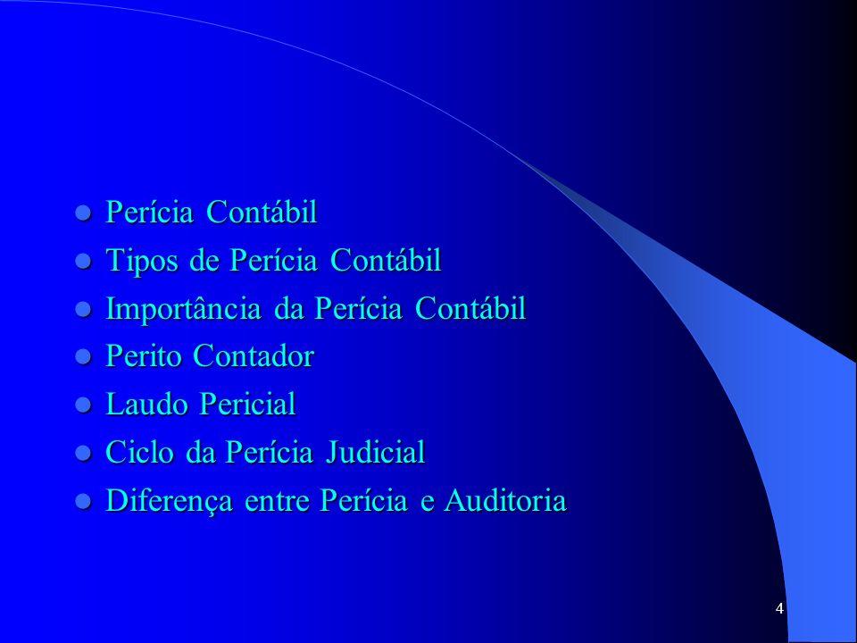 Perícia Contábil Tipos de Perícia Contábil. Importância da Perícia Contábil. Perito Contador. Laudo Pericial.