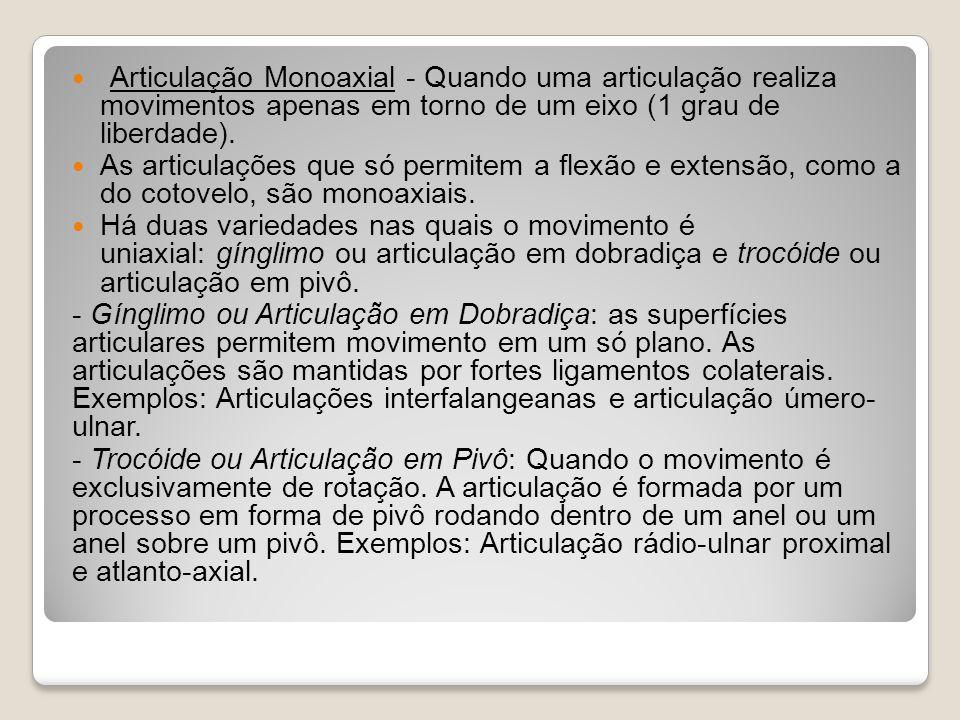 Articulação Monoaxial - Quando uma articulação realiza movimentos apenas em torno de um eixo (1 grau de liberdade).