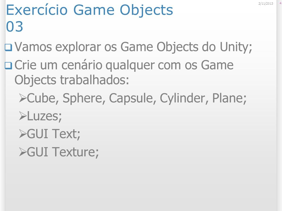 Exercício Game Objects 03