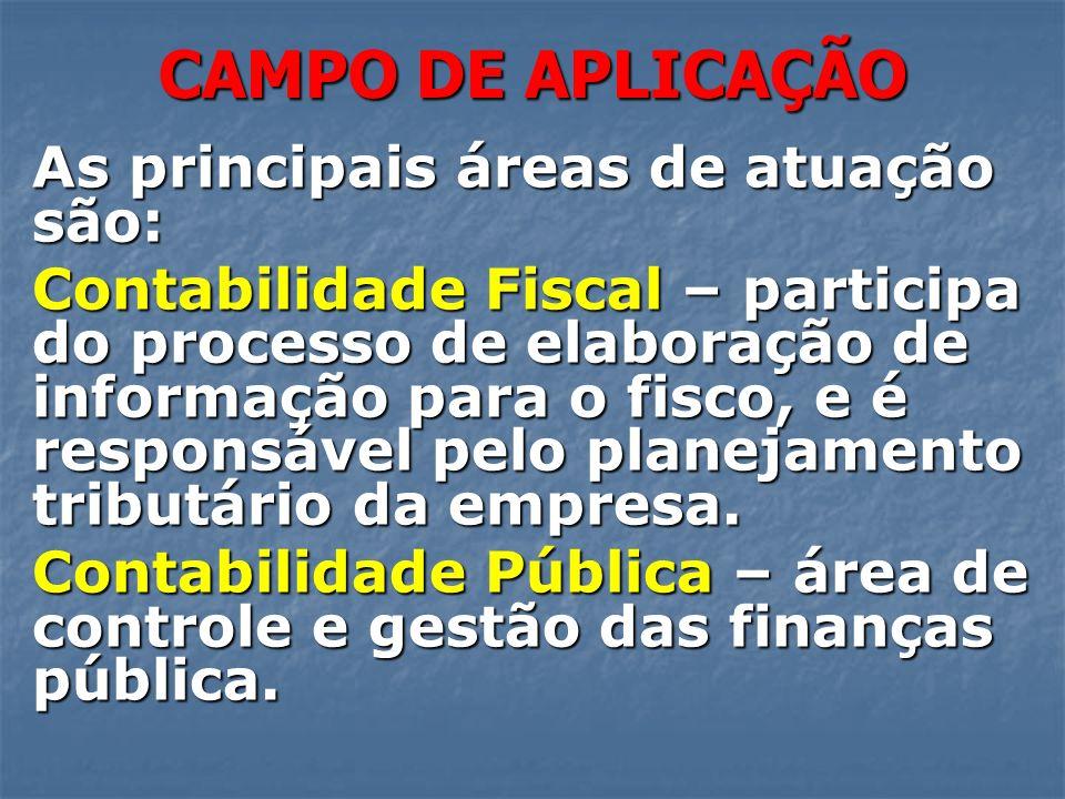 CAMPO DE APLICAÇÃO As principais áreas de atuação são: