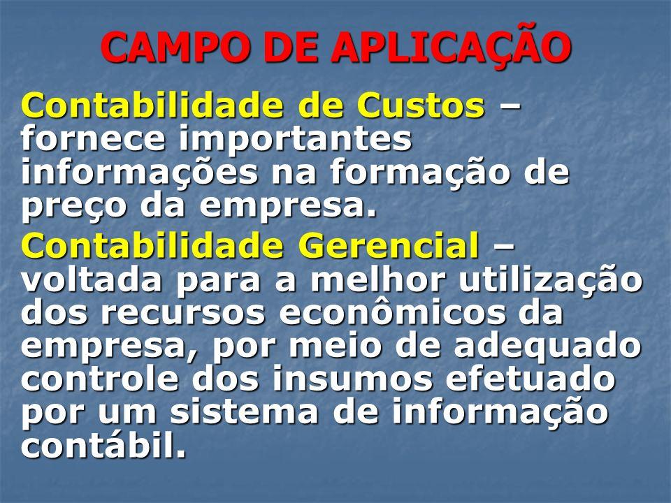 CAMPO DE APLICAÇÃOContabilidade de Custos – fornece importantes informações na formação de preço da empresa.