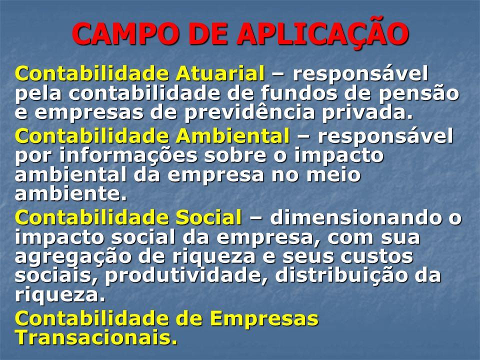 CAMPO DE APLICAÇÃO Contabilidade Atuarial – responsável pela contabilidade de fundos de pensão e empresas de previdência privada.