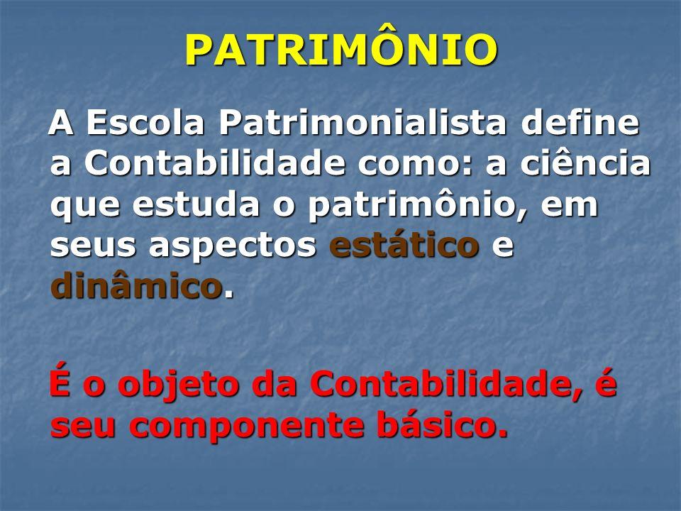 PATRIMÔNIO A Escola Patrimonialista define a Contabilidade como: a ciência que estuda o patrimônio, em seus aspectos estático e dinâmico.