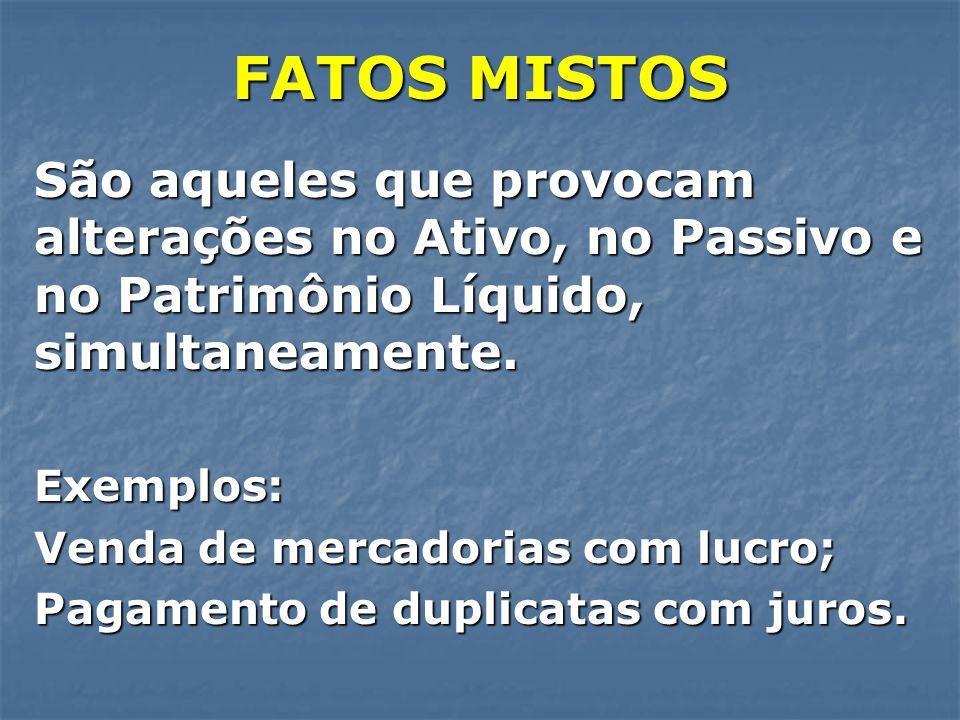 FATOS MISTOS São aqueles que provocam alterações no Ativo, no Passivo e no Patrimônio Líquido, simultaneamente.