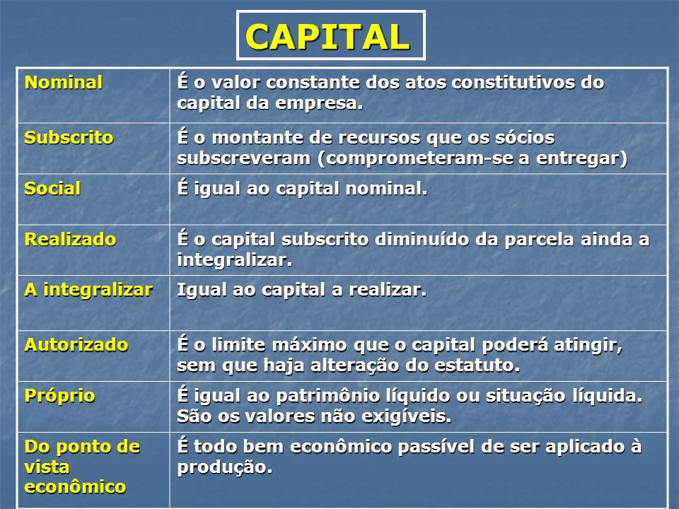 CAPITAL Nominal. É o valor constante dos atos constitutivos do capital da empresa. Subscrito.