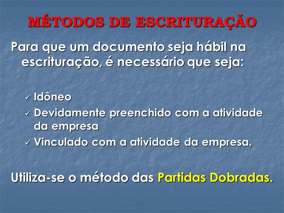MÉTODOS DE ESCRITURAÇÃO