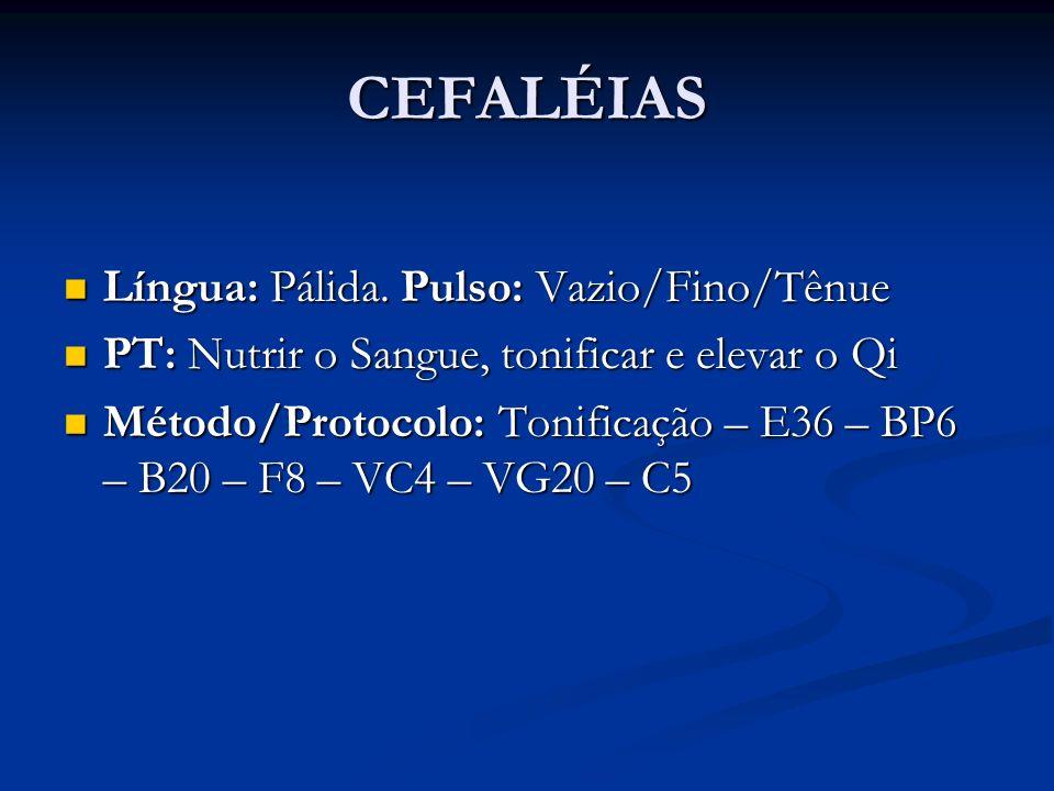 CEFALÉIAS Língua: Pálida. Pulso: Vazio/Fino/Tênue