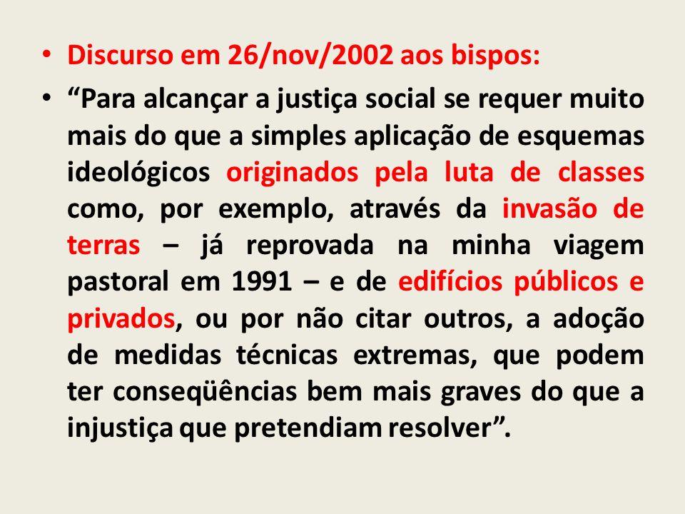 Discurso em 26/nov/2002 aos bispos: