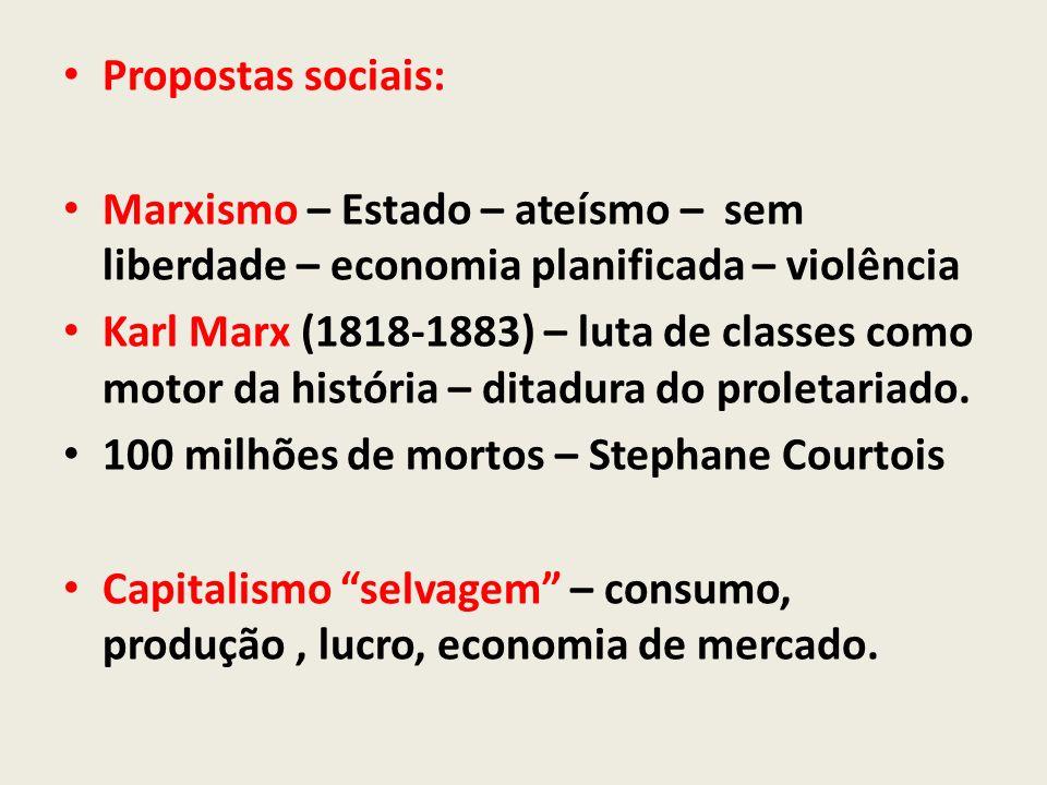 Propostas sociais: Marxismo – Estado – ateísmo – sem liberdade – economia planificada – violência.