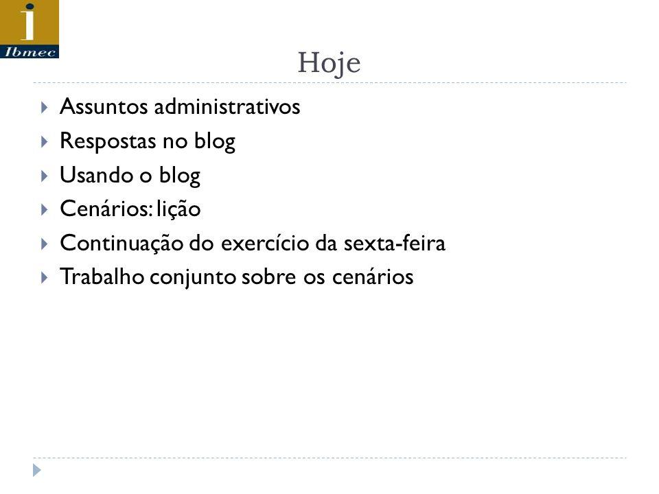 Hoje Assuntos administrativos Respostas no blog Usando o blog