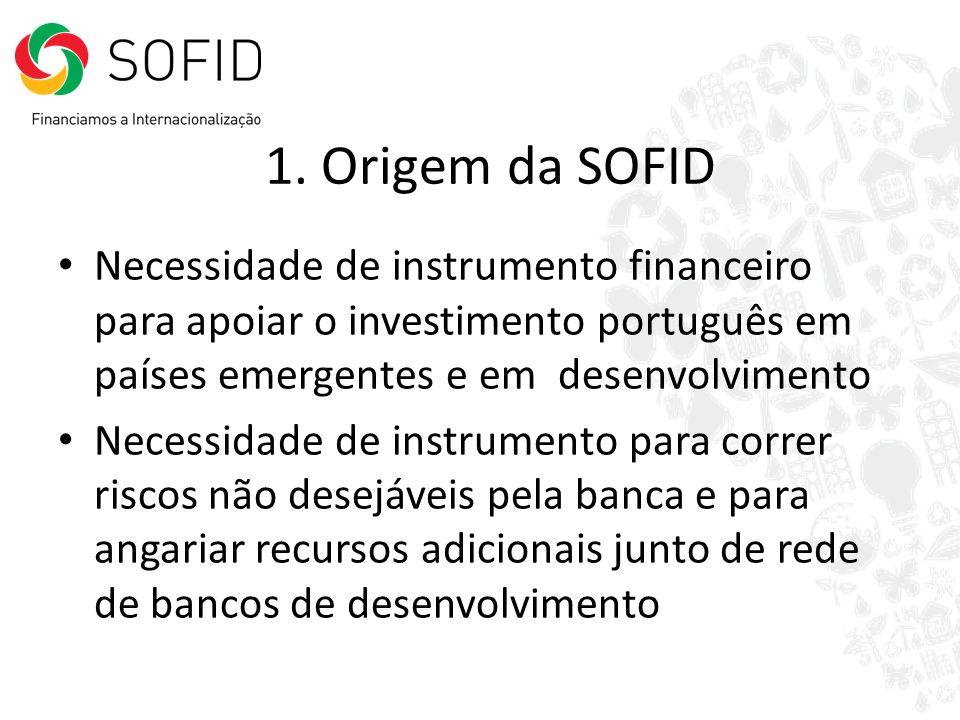 1. Origem da SOFIDNecessidade de instrumento financeiro para apoiar o investimento português em países emergentes e em desenvolvimento.