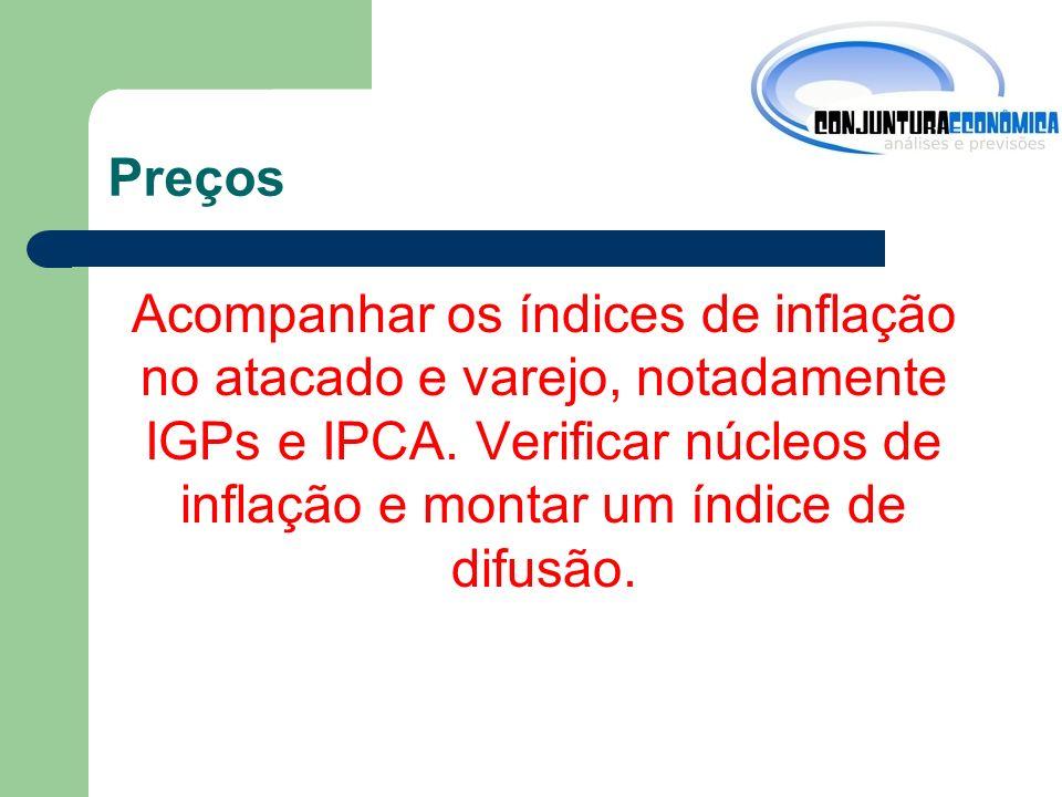 Preços Acompanhar os índices de inflação no atacado e varejo, notadamente IGPs e IPCA.