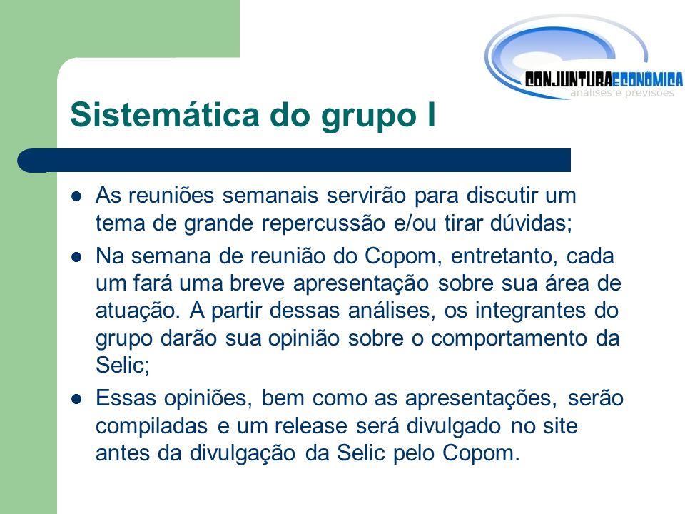 Sistemática do grupo I As reuniões semanais servirão para discutir um tema de grande repercussão e/ou tirar dúvidas;