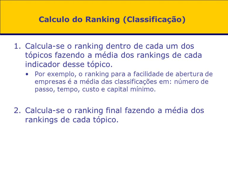 Calculo do Ranking (Classificação)
