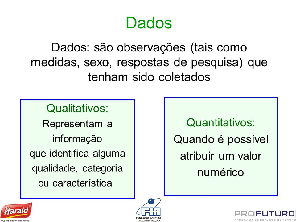 Dados Dados: são observações (tais como medidas, sexo, respostas de pesquisa) que tenham sido coletados.