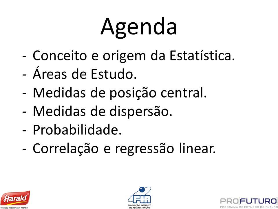 Agenda Conceito e origem da Estatística. Áreas de Estudo.