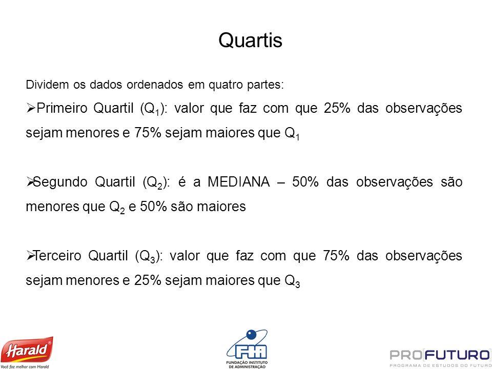 Quartis Dividem os dados ordenados em quatro partes: