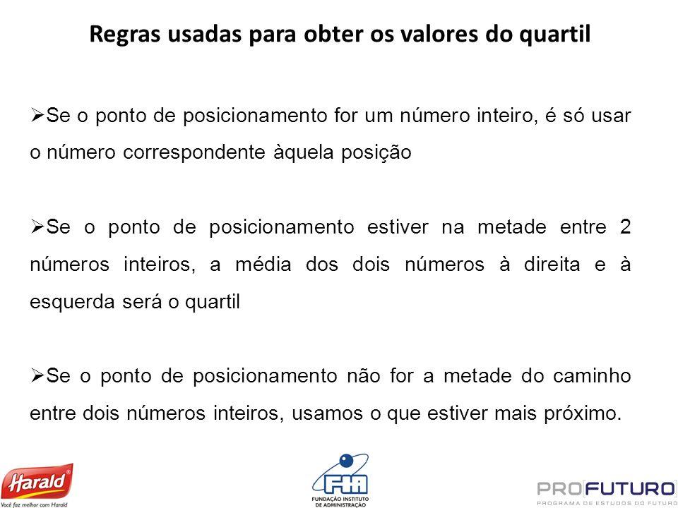 Regras usadas para obter os valores do quartil