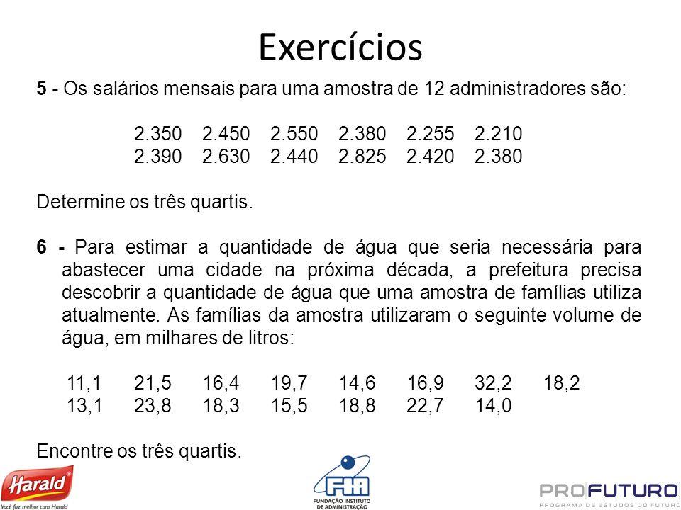 Exercícios 5 - Os salários mensais para uma amostra de 12 administradores são: 2.350 2.450 2.550 2.380 2.255 2.210.