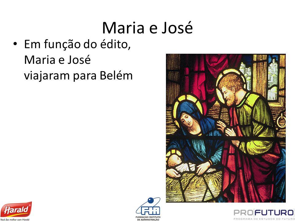Maria e José Em função do édito, Maria e José viajaram para Belém