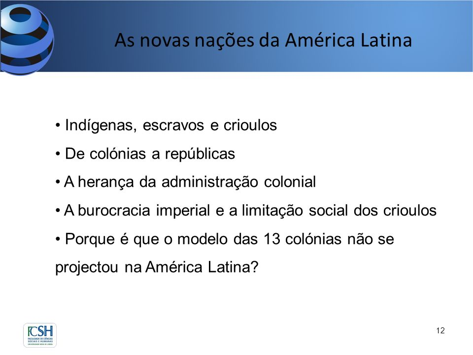 As novas nações da América Latina