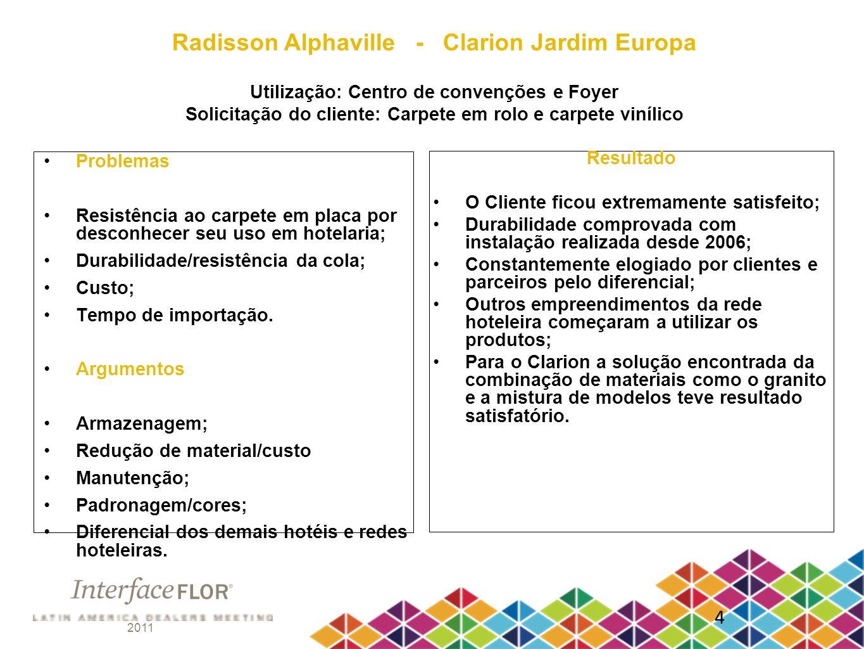 Radisson Alphaville - Clarion Jardim Europa Utilização: Centro de convenções e Foyer Solicitação do cliente: Carpete em rolo e carpete vinílico