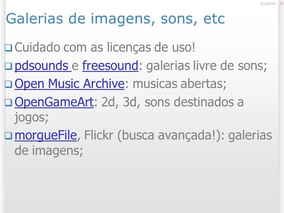 Galerias de imagens, sons, etc