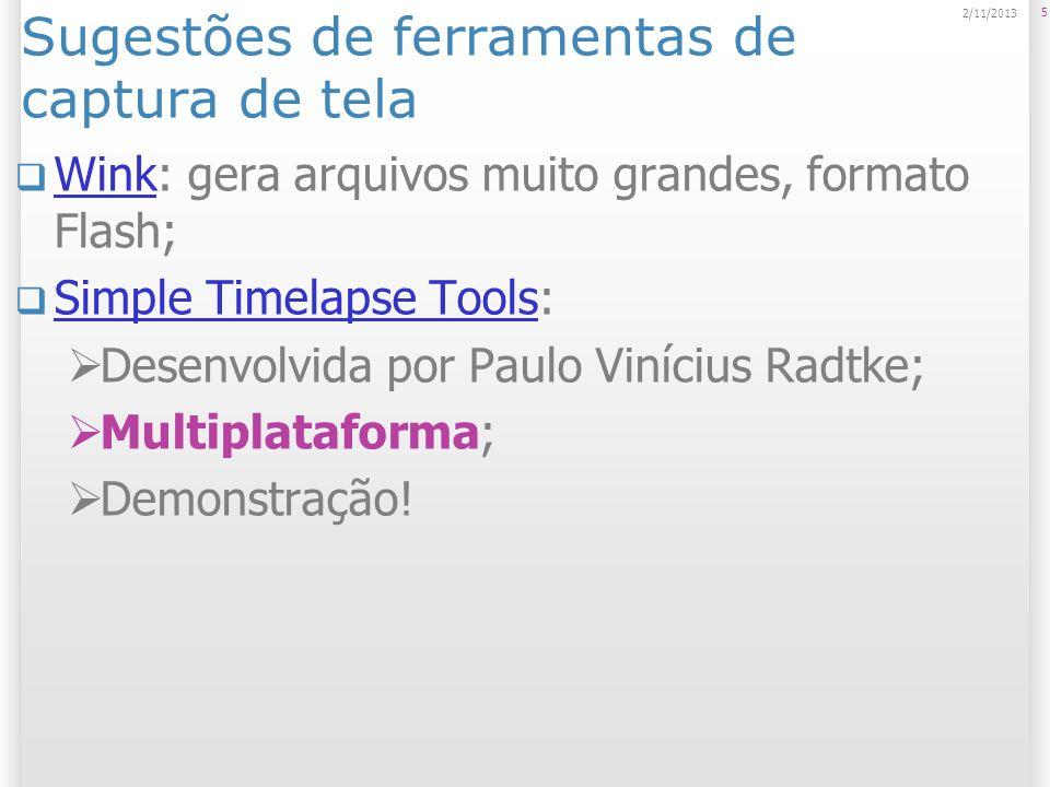 Sugestões de ferramentas de captura de tela