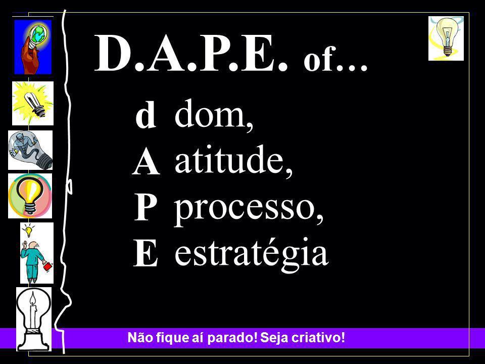 D.A.P.E. of… d A P E dom, atitude, processo, estratégia