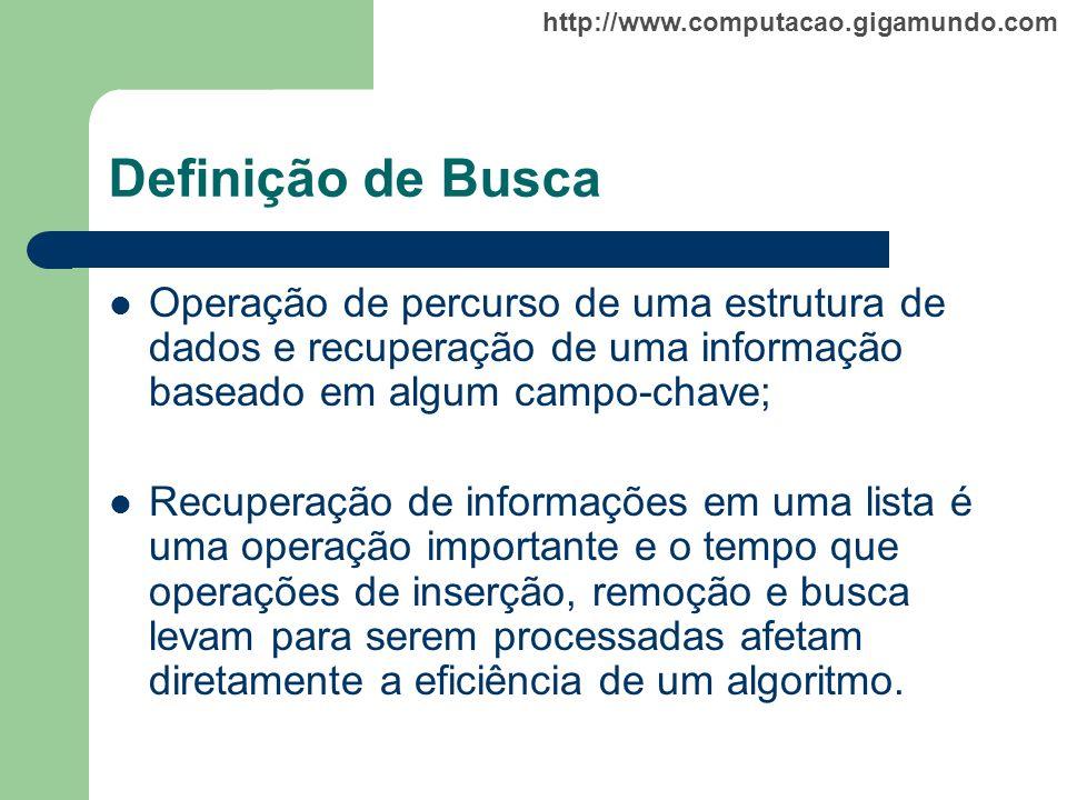 Definição de Busca Operação de percurso de uma estrutura de dados e recuperação de uma informação baseado em algum campo-chave;