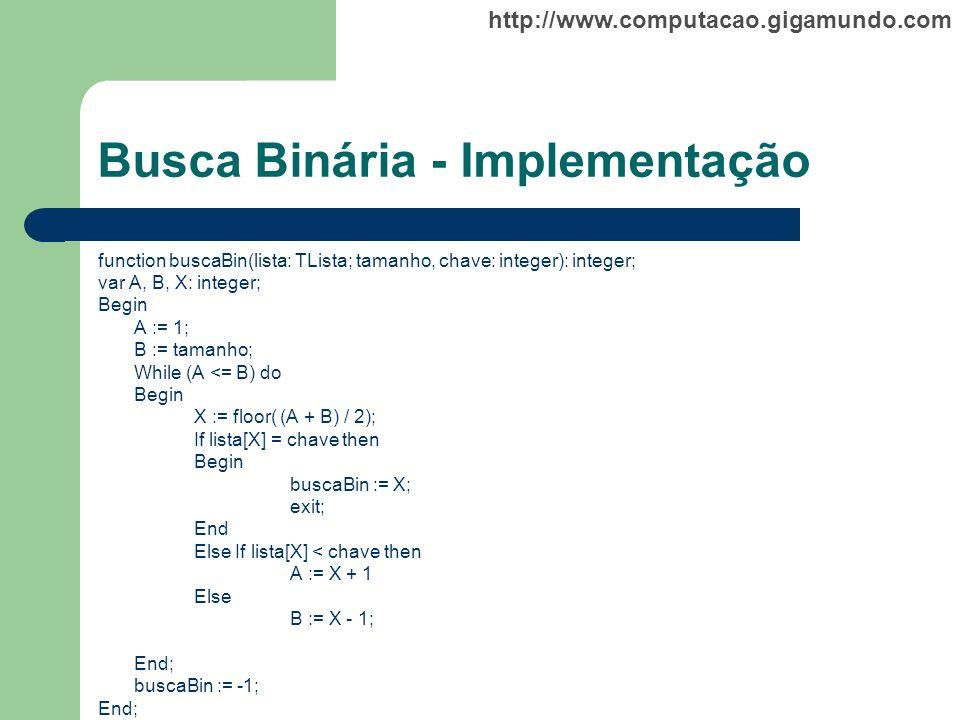 Busca Binária - Implementação