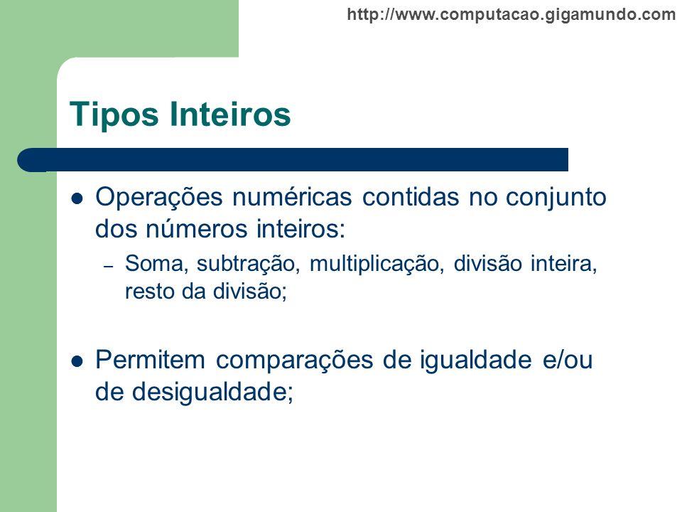 Tipos Inteiros Operações numéricas contidas no conjunto dos números inteiros: Soma, subtração, multiplicação, divisão inteira, resto da divisão;