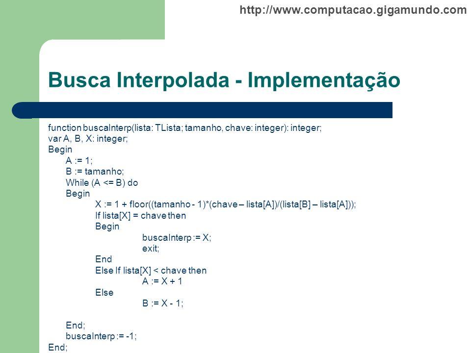 Busca Interpolada - Implementação