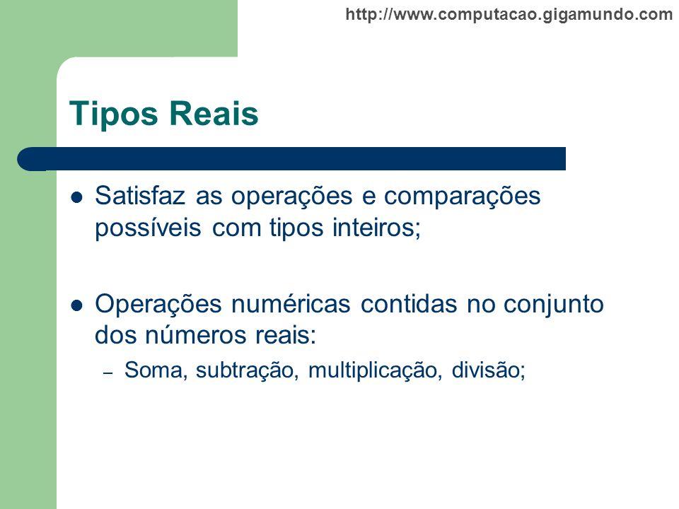Tipos Reais Satisfaz as operações e comparações possíveis com tipos inteiros; Operações numéricas contidas no conjunto dos números reais: