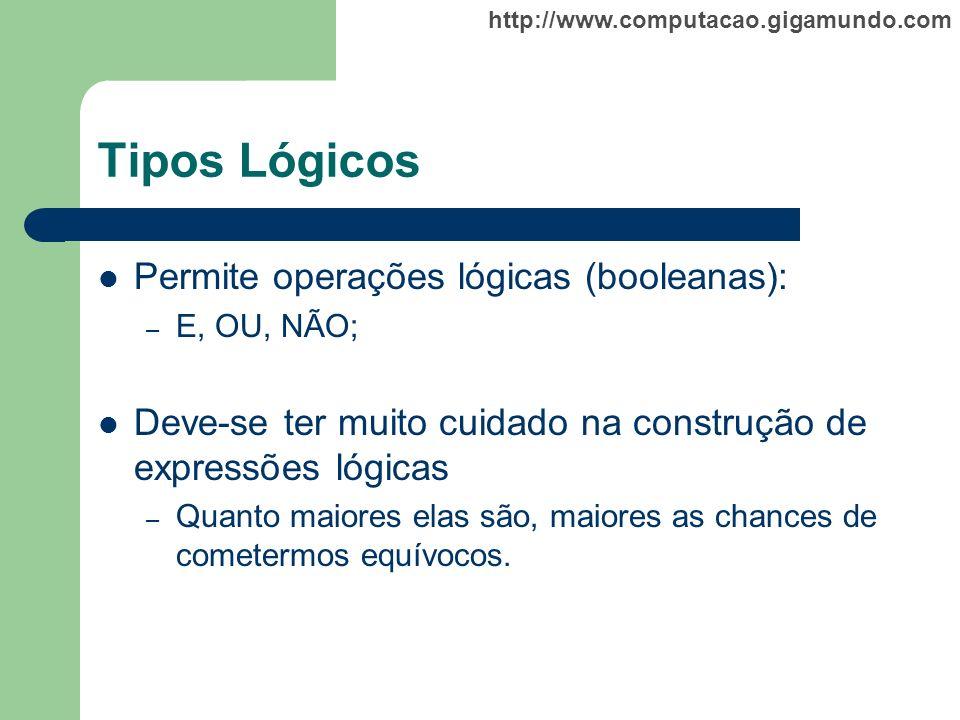 Tipos Lógicos Permite operações lógicas (booleanas):