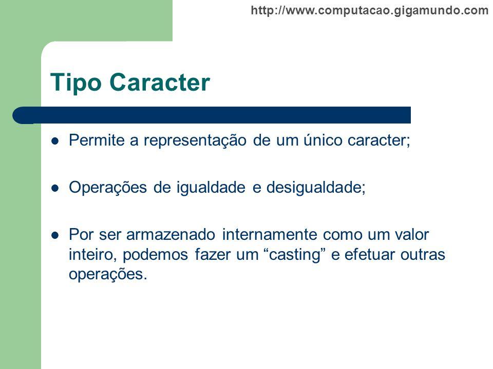 Tipo Caracter Permite a representação de um único caracter;
