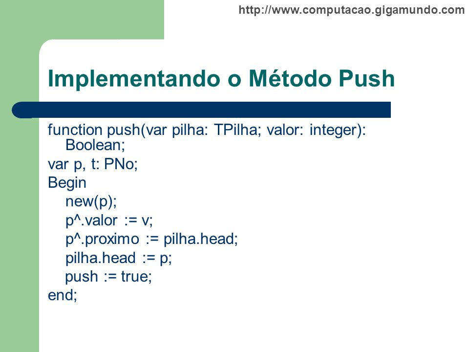 Implementando o Método Push