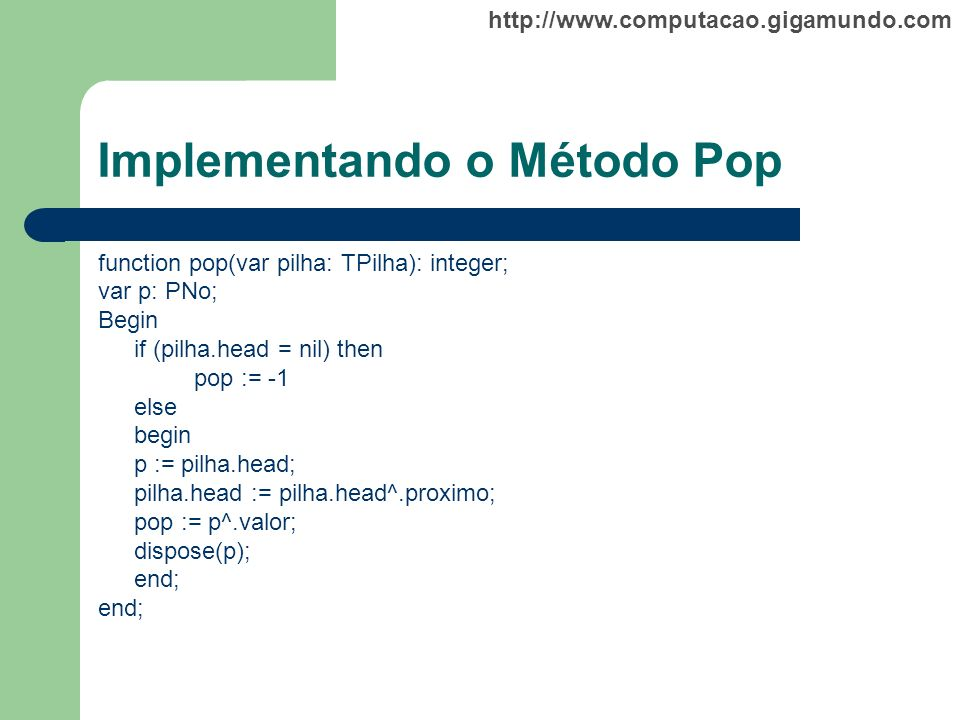 Implementando o Método Pop