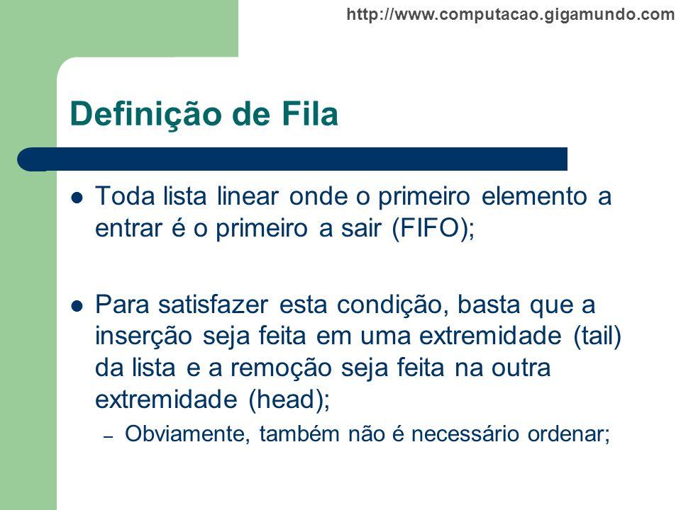 Definição de Fila Toda lista linear onde o primeiro elemento a entrar é o primeiro a sair (FIFO);