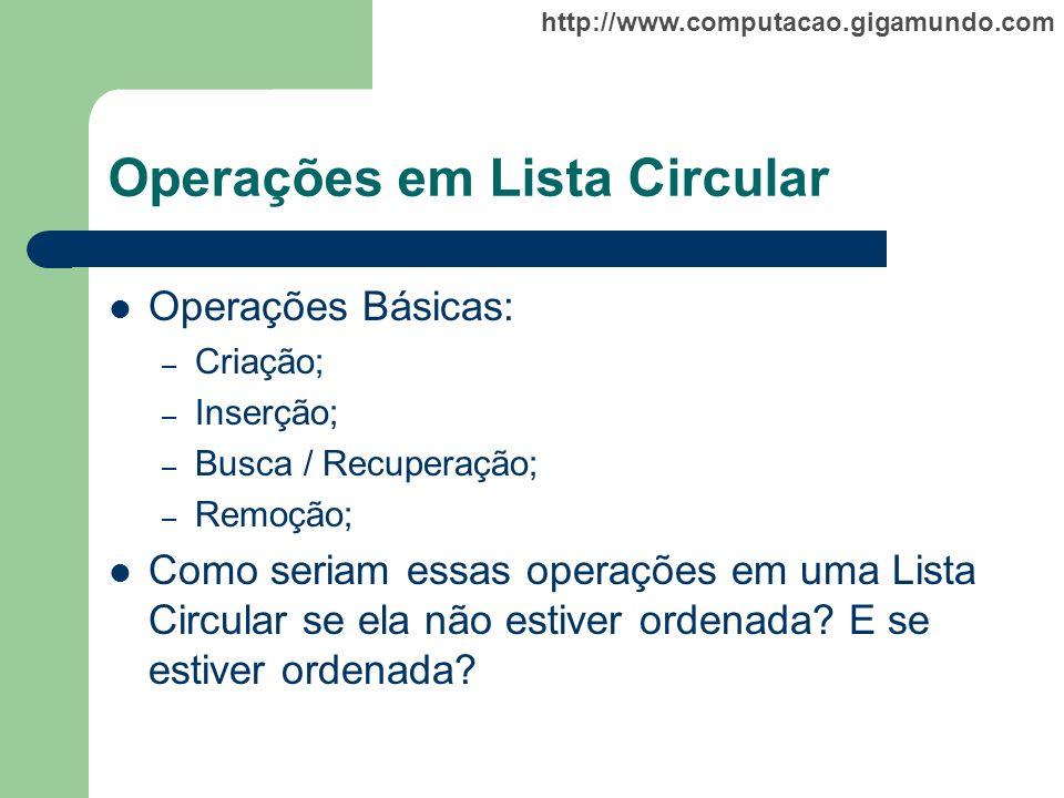 Operações em Lista Circular