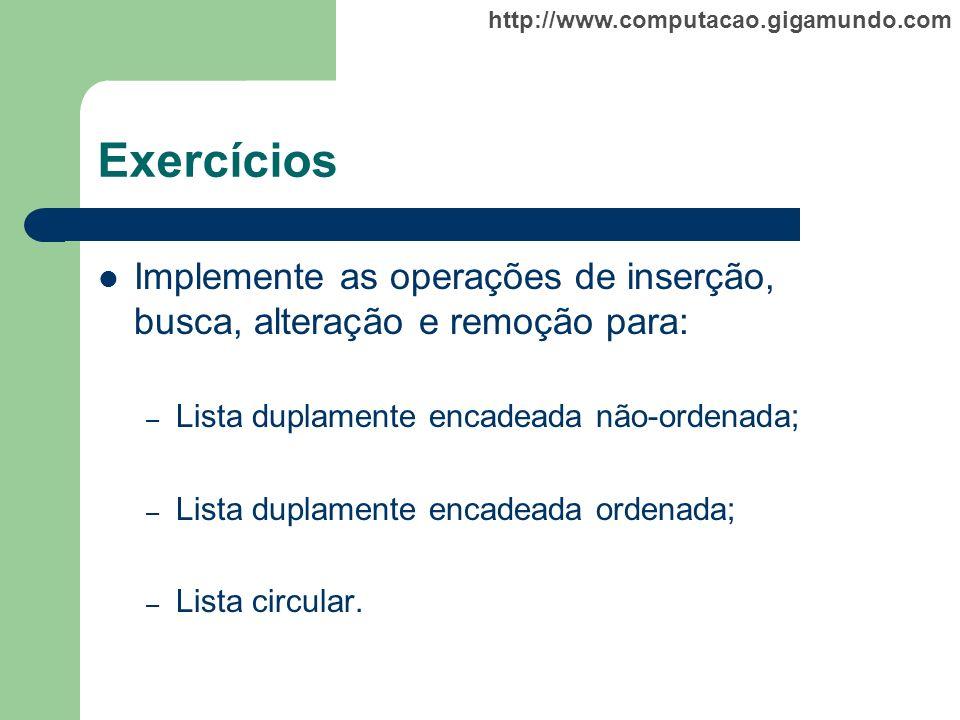 Exercícios Implemente as operações de inserção, busca, alteração e remoção para: Lista duplamente encadeada não-ordenada;