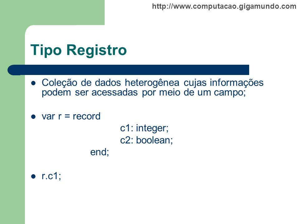 Tipo Registro Coleção de dados heterogênea cujas informações podem ser acessadas por meio de um campo;