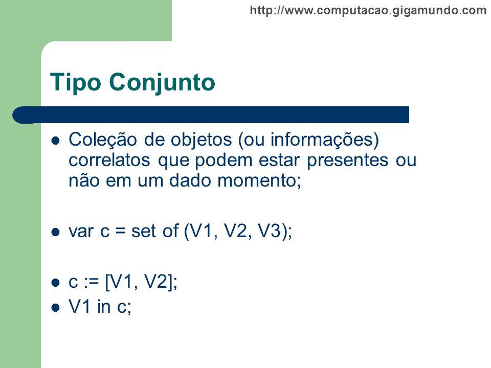 Tipo Conjunto Coleção de objetos (ou informações) correlatos que podem estar presentes ou não em um dado momento;
