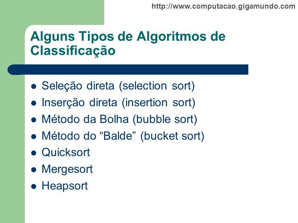 Alguns Tipos de Algoritmos de Classificação