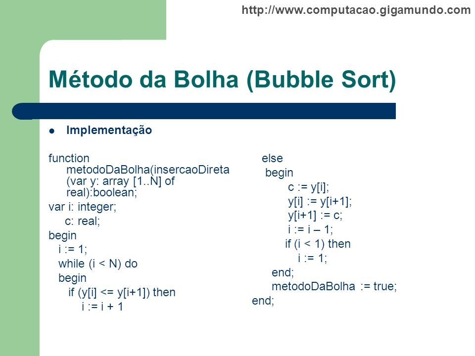 Método da Bolha (Bubble Sort)