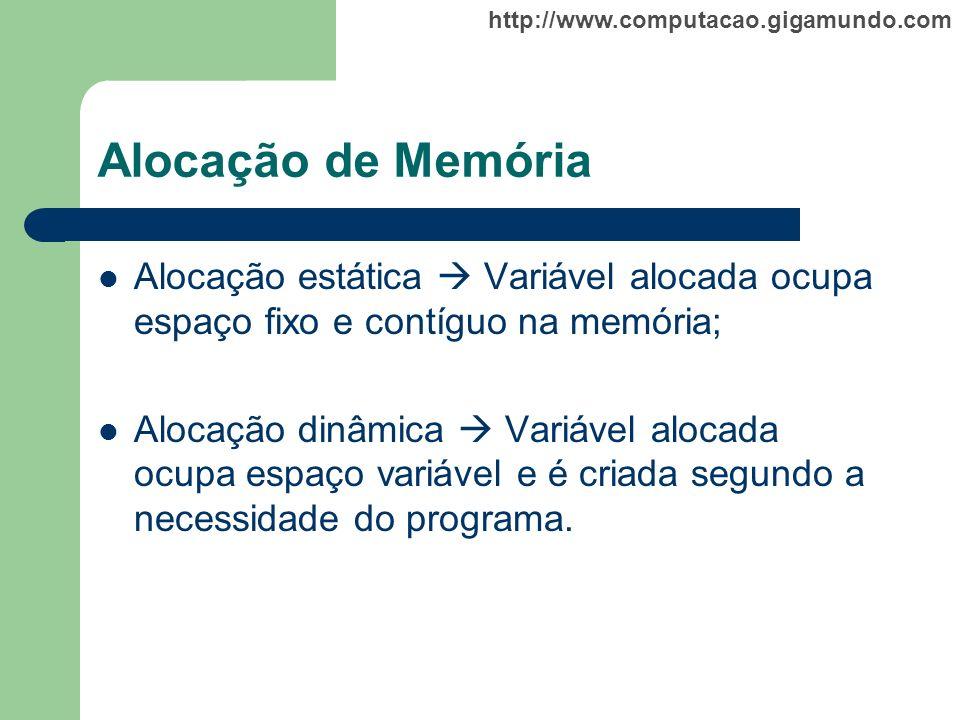 Alocação de Memória Alocação estática  Variável alocada ocupa espaço fixo e contíguo na memória;
