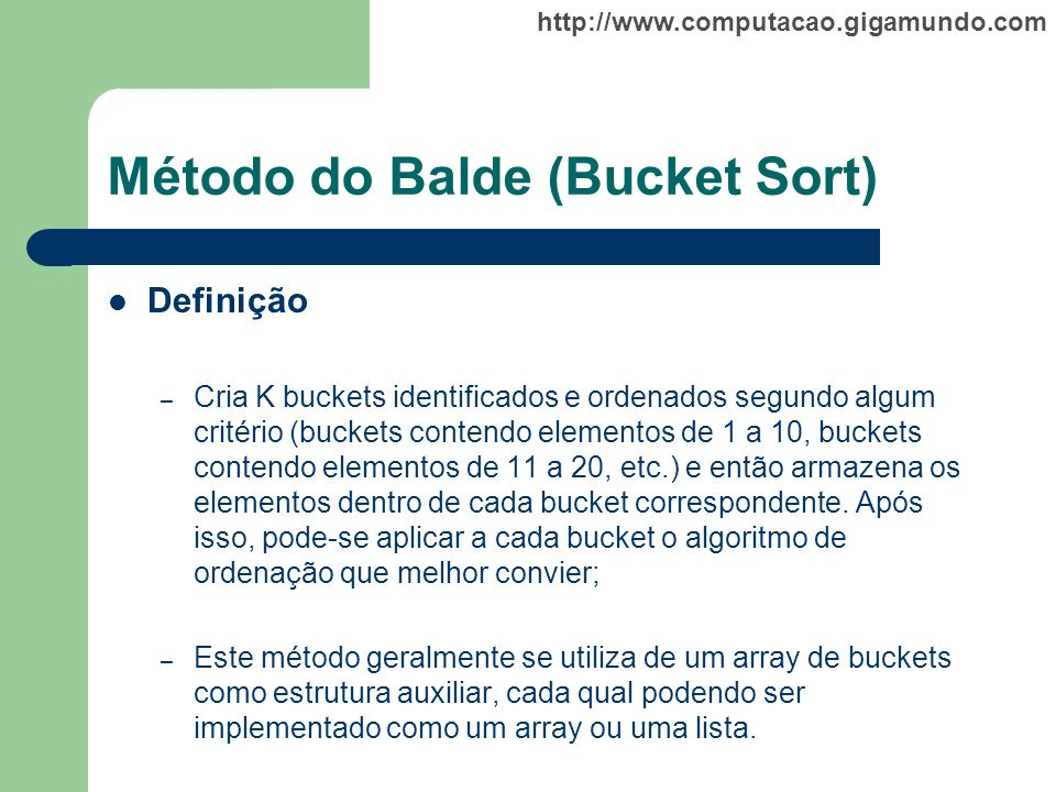 Método do Balde (Bucket Sort)