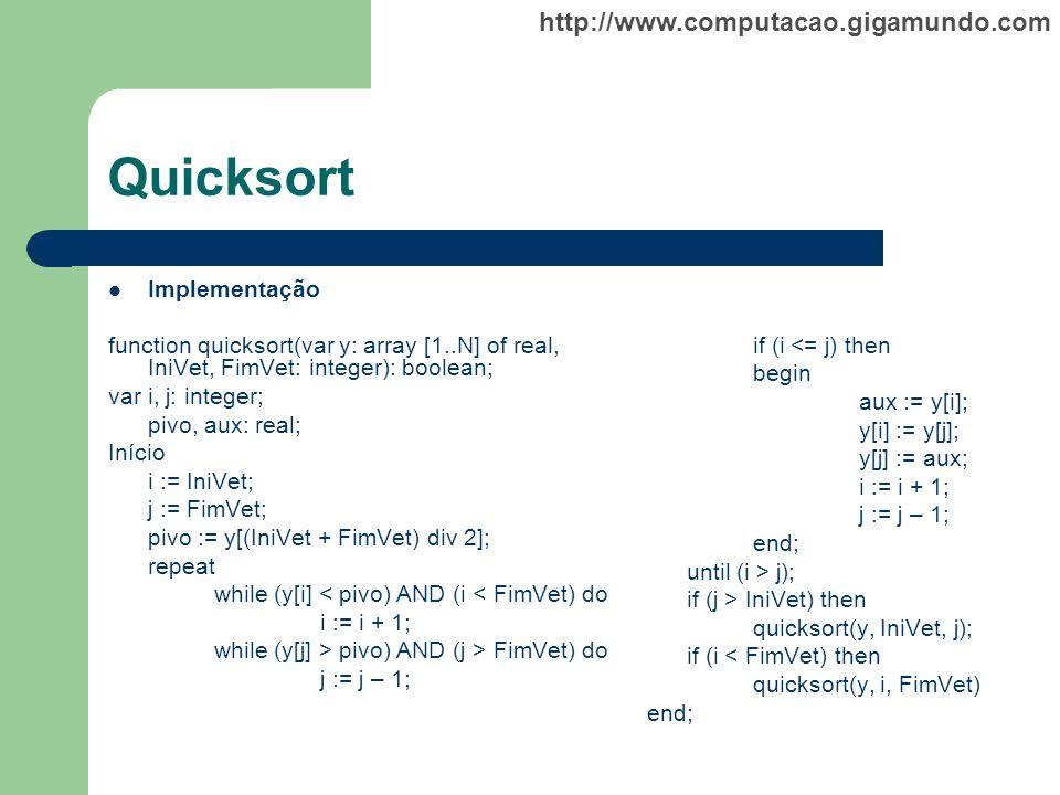 Quicksort Implementação