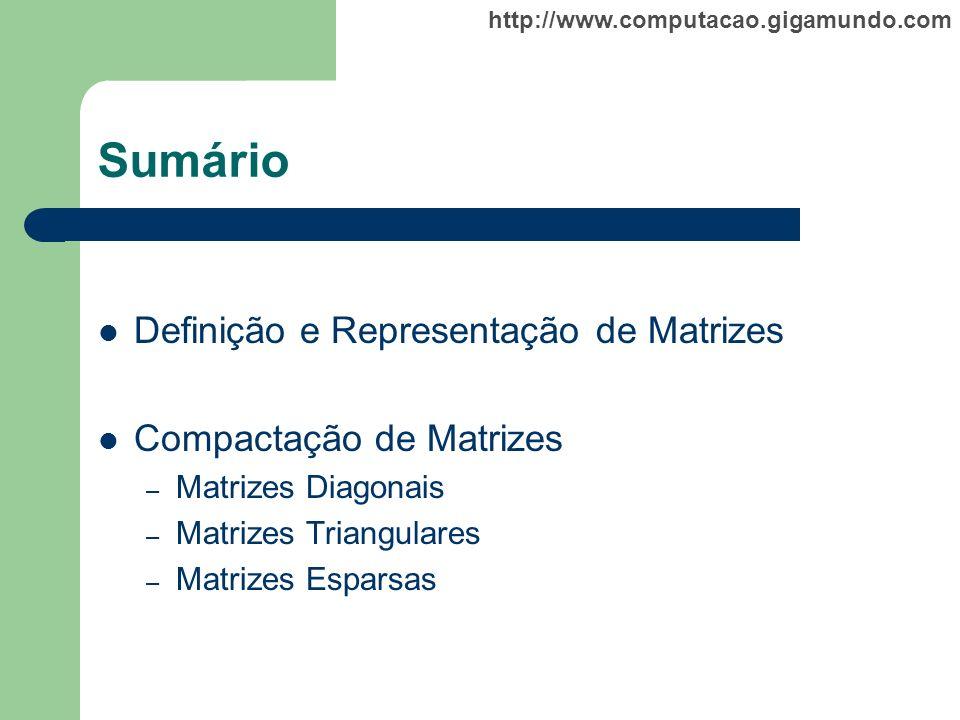 Sumário Definição e Representação de Matrizes Compactação de Matrizes